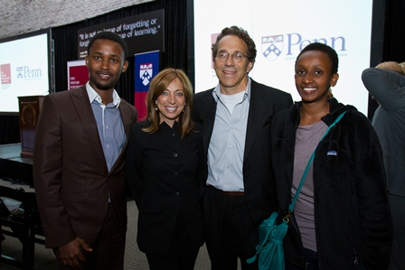 From left:  Yves Kamuronsi, Documentation Centre Head, Kigali Genocide Memorial; Marcy Gringlas and Joel Greenberg, members of the USC Shoah Foundation Institute's Board of Councilors; and student Winnie Mussoni.