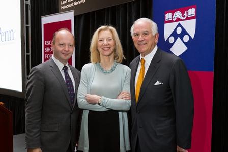 From left: Stephen D. Smith, Executive Director, USC Shoah Foundation Institute; Amy Gutmann, President, University of Pennsylvania; and Stephen Cozen, a Penn alumnus and a member of the Institute's Board of Councilors.