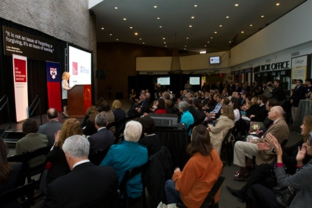 Amy Gutmann, President of the University of Pennsylvania, addresses the audience at the launch event.