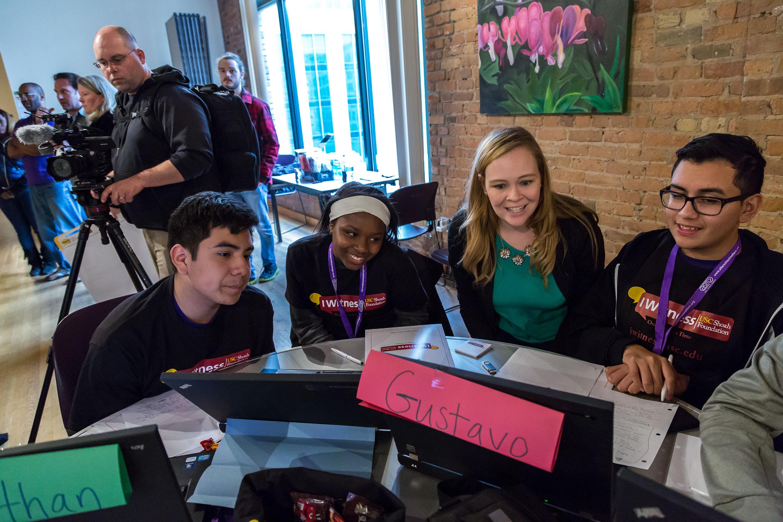 USC Shoah Foundation social media manager Deanna Hendrick helps students