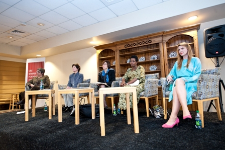 From left:  Beth Meyerowitz, Vice Provost, Professor of Psychology and Preventive Medicine, USC; Kimberly Mann, Manager, The Holocaust and the United Nations Outreach Programme; Alison Dundes Renteln, Professor of Political Science and Anthropology, USC; Rose Mapendo, survivor of the conflict in the Democratic Republic of the Congo; and Sabina Vajrača, Bosnian-American film director, screenwriter, and producer.