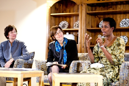 From left:  Kimberly Mann, Manager, The Holocaust and the United Nations Outreach Programme; Alison Dundes Renteln, Professor of Political Science and Anthropology, USC; and Rose Mapendo, survivor of the conflict in the Democratic Republic of the Congo.