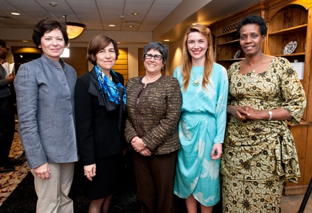 From left:  Kimberly Mann, Manager, The Holocaust and the United Nations Outreach Programme; Alison Dundes Renteln, Professor of Political Science and Anthropology, USC; Beth Meyerowitz, Vice Provost, Professor of Psychology and Preventive Medicine, USC; Sabina Vajrača, Bosnian-American film director, screenwriter, and producer; and Rose Mapendo, survivor of the conflict in the Democratic Republic of the Congo.