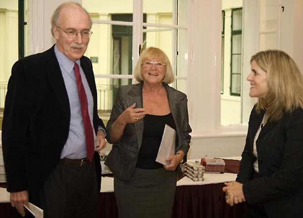 John Shattuck, CEU President and Rector; Maria Szlatky, Director, CEU Library; and Kim Simon, SFI Managing Director.