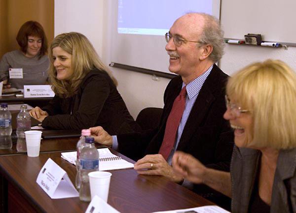 Kim Simon, SFI Managing Director; John Shattuck, CEU President and Rector; and Maria Szlatky, Director, CEU Library.