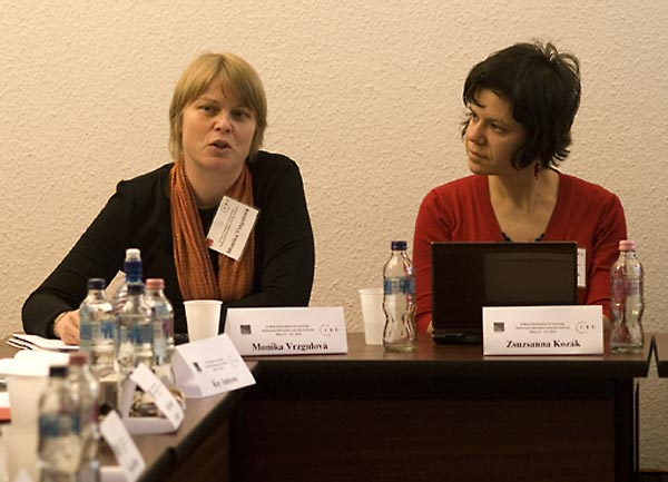 Monika Vrzgulová, Director, Holocaust Documentation Center, Slovakia; and Zsuzsanna Kozák, Media Education Expert, Merei Pedagogical Institute, Hungary.