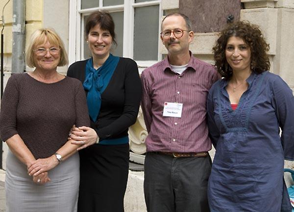 Maria Szlatky, Director, CEU Library; Katalin Oblath-Tikos, Head of Public Services, CEU Library; Péter Bérczi, CEU Serials Librarian; and Andrea Szőnyi, SFI Regional Consultant, Hungary.