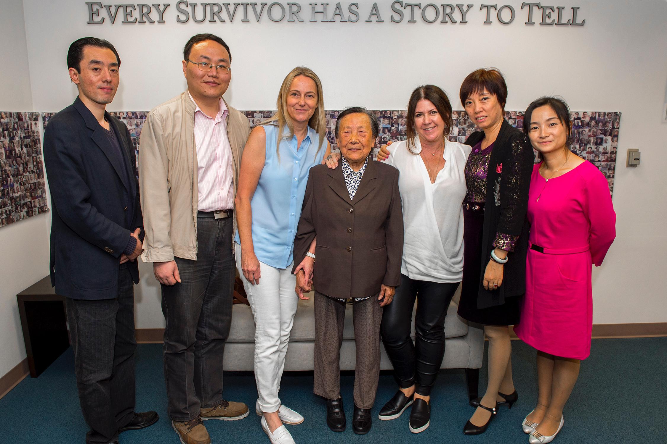 From left: Gong Chen, Yanming Lu, Karen Jungblut, Shuqin Xia, Heather Maio, Xia family