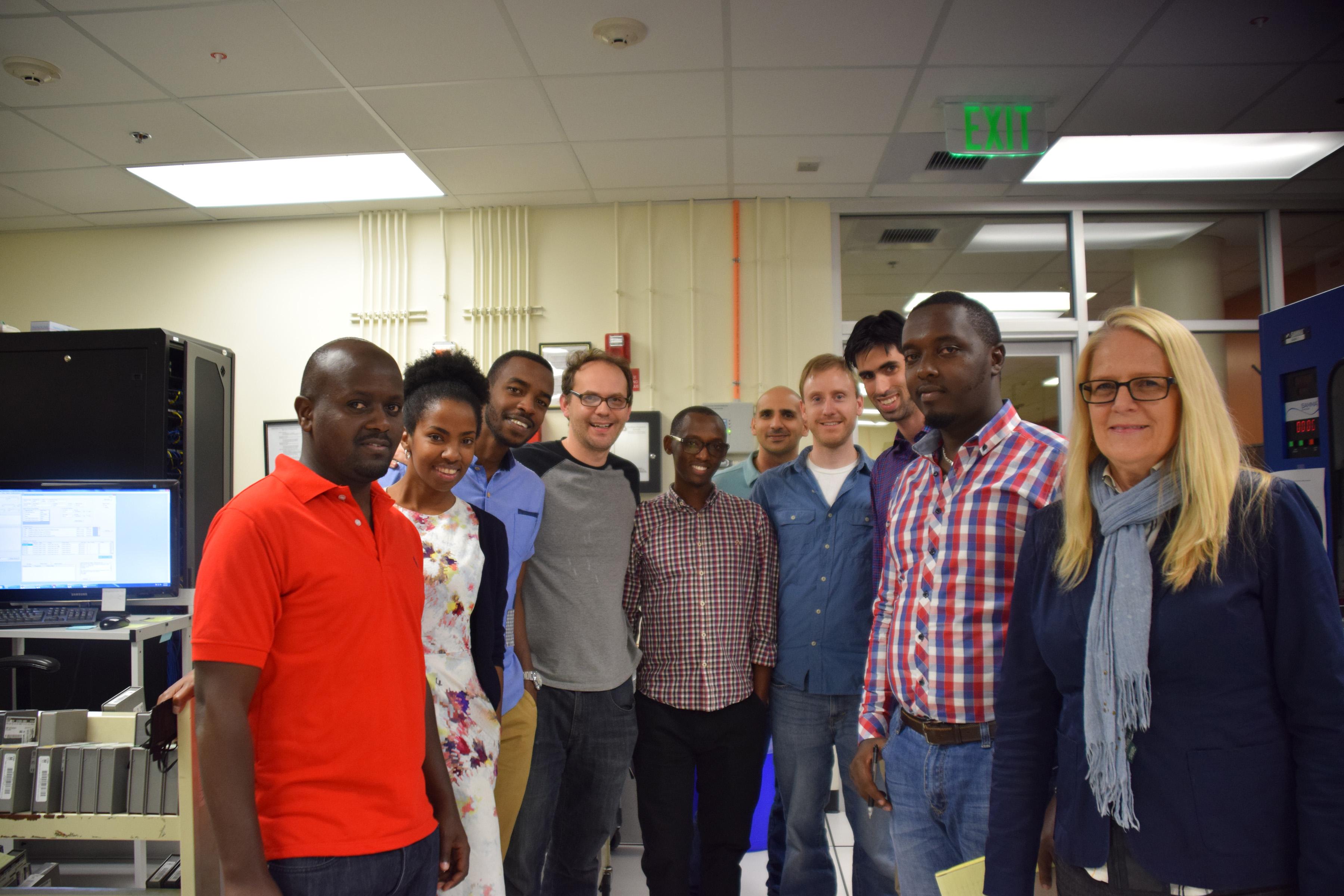 L-R: Clement Muhire; Consolée Uwamariya; Fabrice Musafiri; Ryan Fenton-Strauss; Patrick Nkubana; Shiraz Bhathena; Zachary Goode; Remington Dewan; Claver Irakoze; Anita Pace.