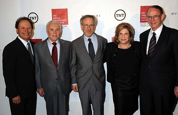 Billy Crystal, Kirk Douglas, Steven Spielberg, Wallis Annenberg, and USC President Steven B. Sample.