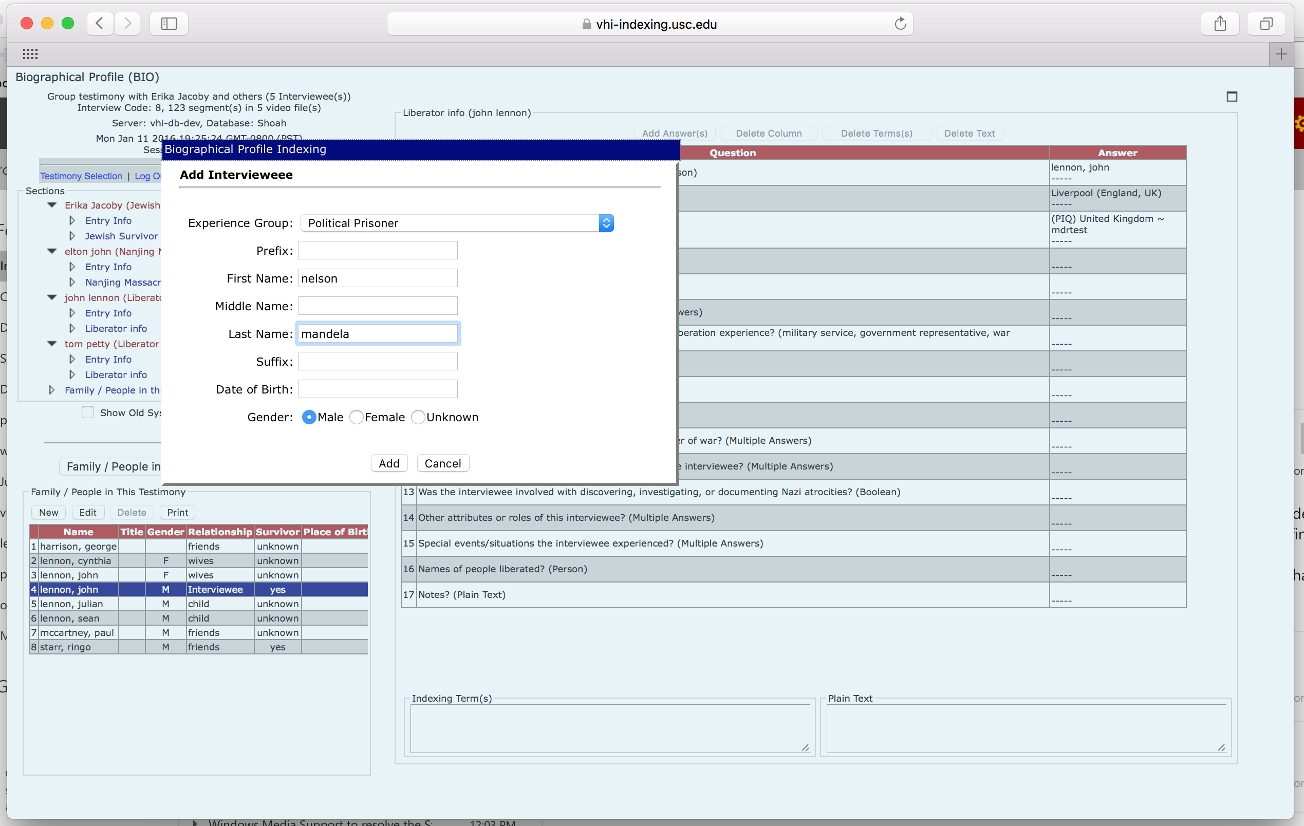 Screenshot of indexing interface shows how an indexer can add a second interviewee to a testimony