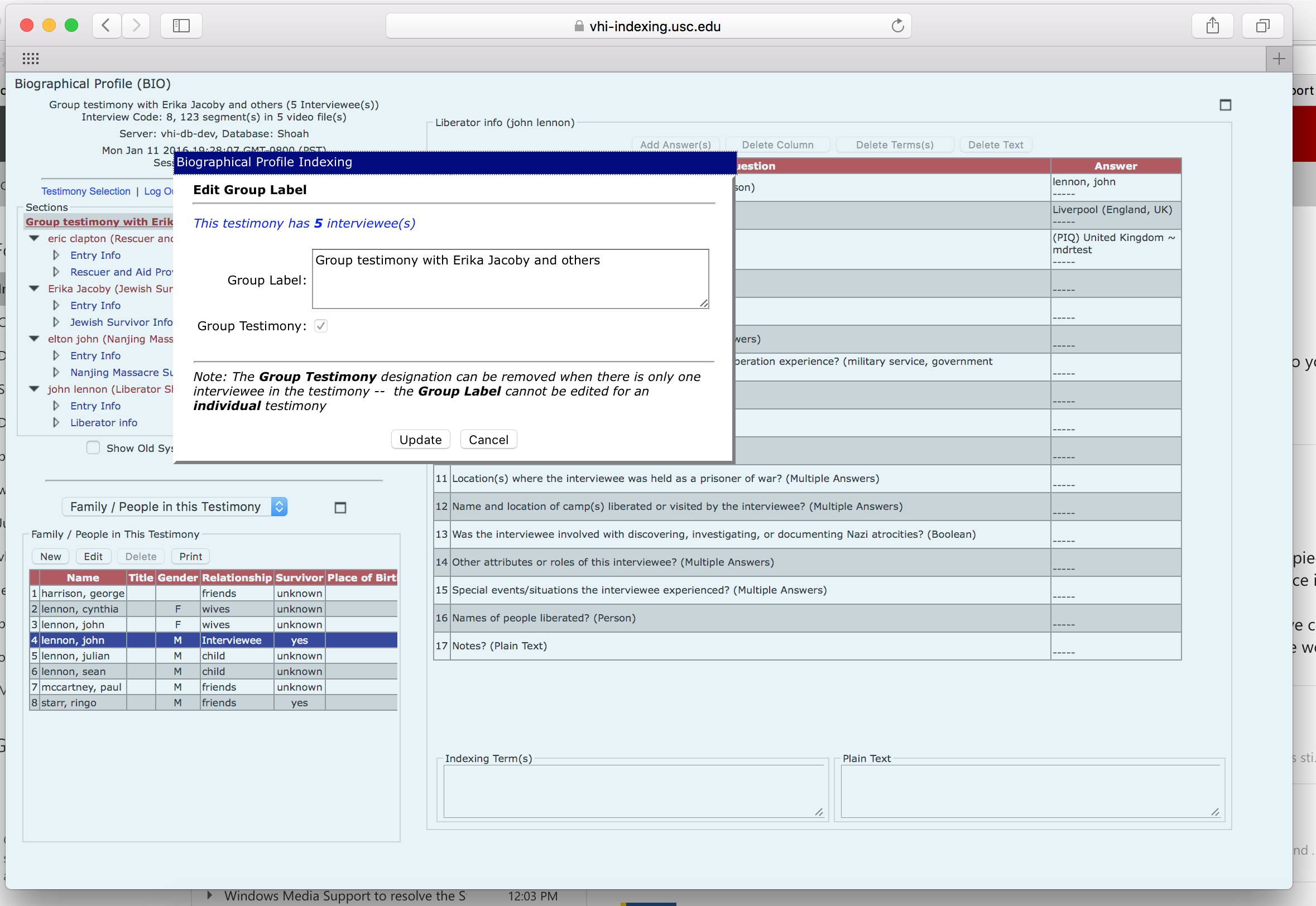 Screenshot of indexing interface shows how an indexer can create a Group Testimony