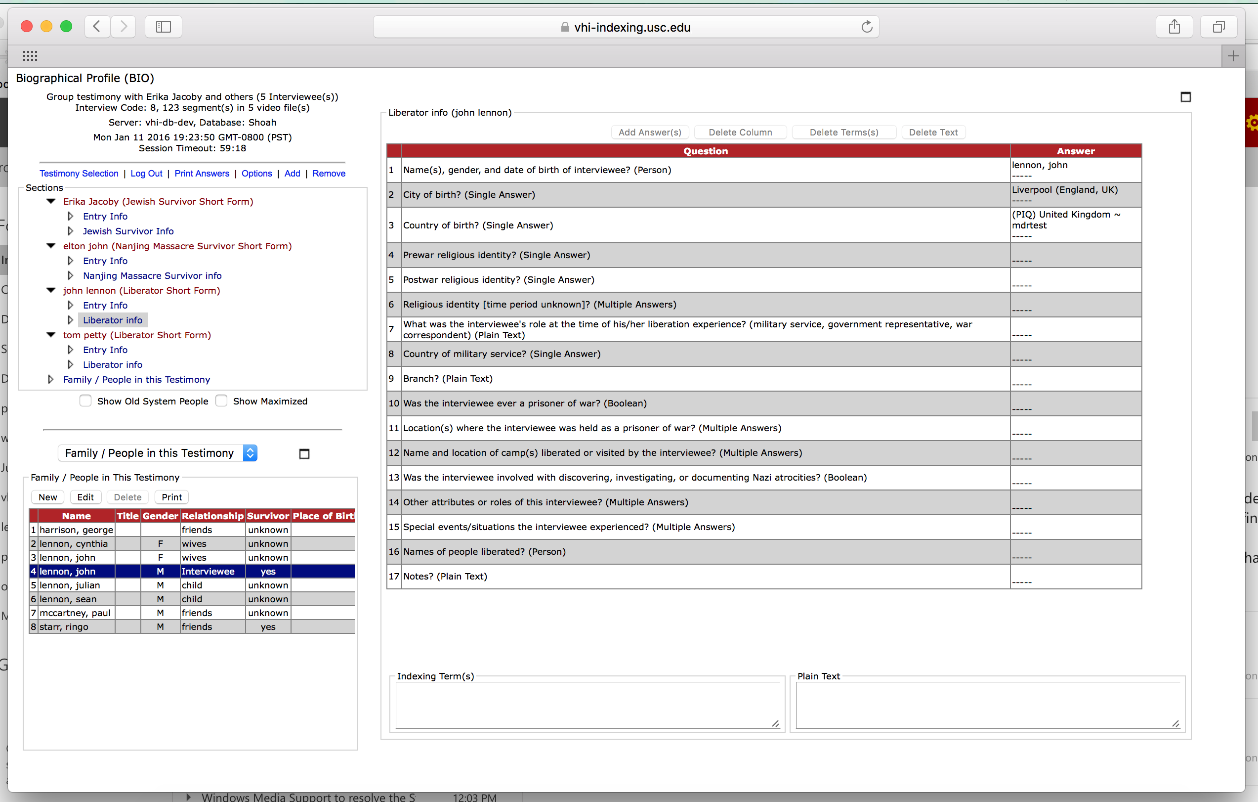 Screenshot of indexing interface shows how a group testimony is indexed
