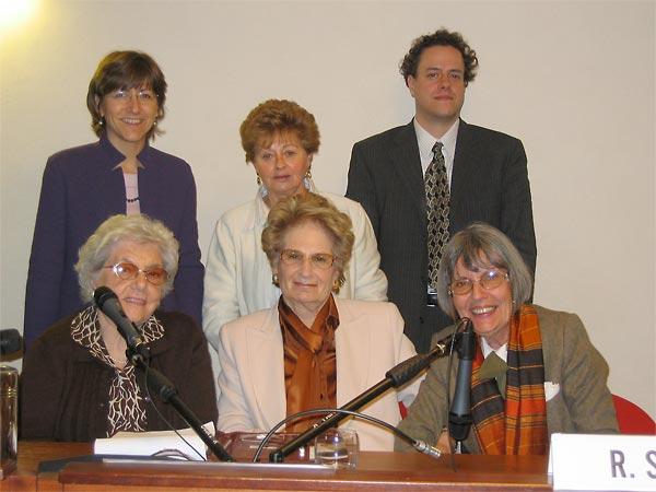 Left to right, standing:  Milena Santerini, Doris Felsen-Escojido, and Martin Smok.  Seated:  Agata Bauer, Liliana Segre, and Rita Sidoli.