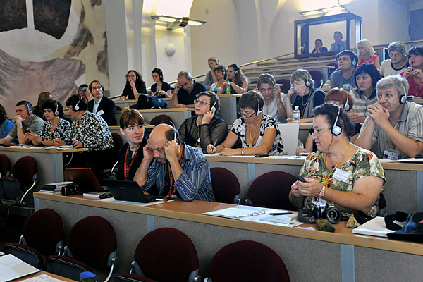 """Participants at the official opening of the """"Teaching with Testimony in the 21st Century"""" workshop."""