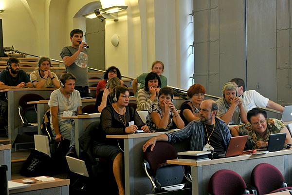 Czech and Ukrainian educators listen to presentation by Kori Street, USC Shoah Foundation Director of Programs.
