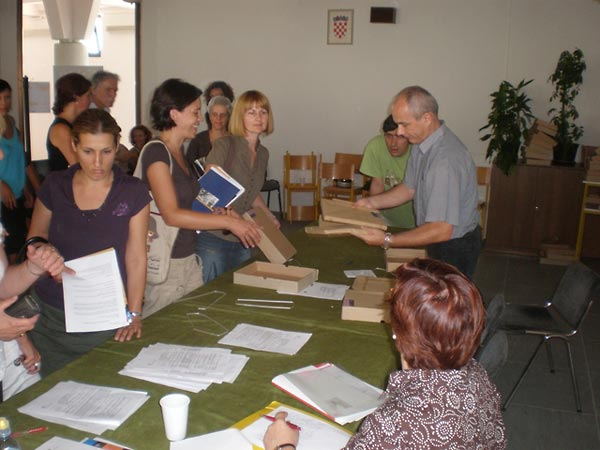Teachers arrive at a training session in Split, Croatia.