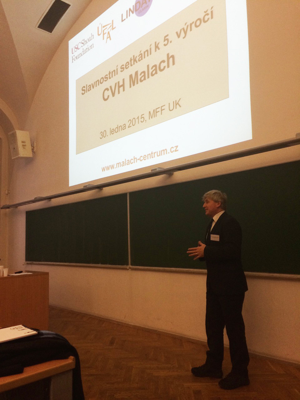 Associate Dean of Charles University Faculty of Mathematics and Physics (MFF UK), prof. RNDr. Jan Trlifaj, CSc., DSc., welcoming the participants at the 5th Annual Conference of the Malach Center