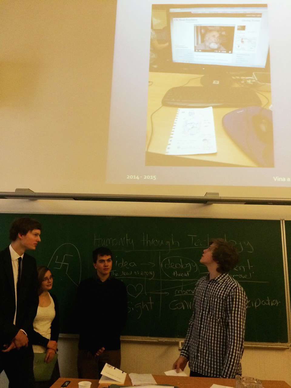 Students of the Archbishop gymnasium in Prague discuss their testimony-based projects probing the concepts of Guilt and Forgiveness