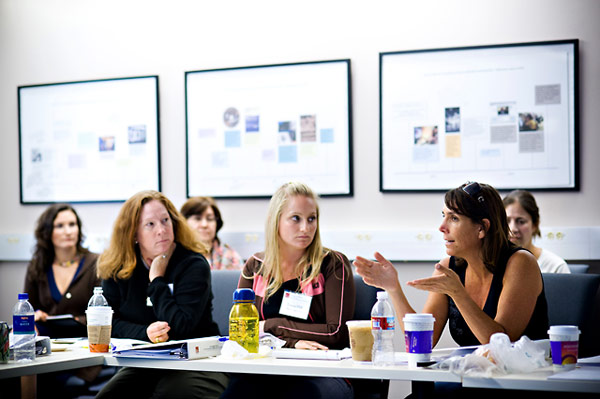 Merri Weir (right), Teresa Hill (center), and Paige Leven (left), teachers from Los Angeles schools, participate in a workshop session about using testimony in the classroom.