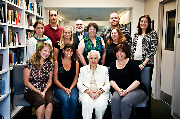 Bottom, from left:  Debora Neel; Paige Leven; Renée Firestone, Holocaust survivor; and Sherry Bard, Institute Project Director of Educational Programs.  Middle, from left:  Renée Semik; Teresa Hill; Kayte Russell; and Merri Weir.  Top, from left:  Jeremy Howard; Yisroel Blumenstein; Jonathan Owens; and Sheila Hansen, Institute Content Specialist.