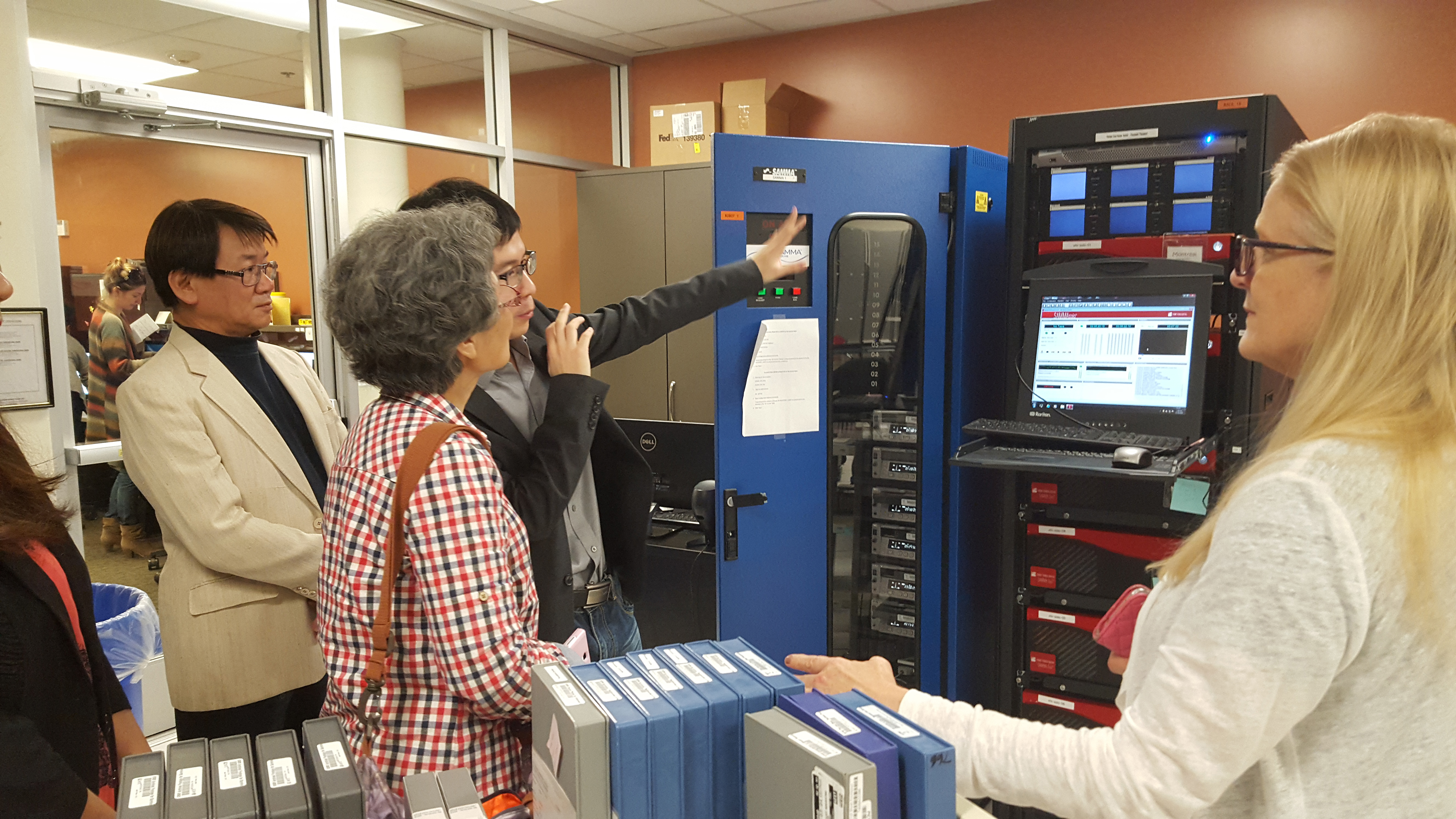 The group visits the ITS data center with Anita Pace