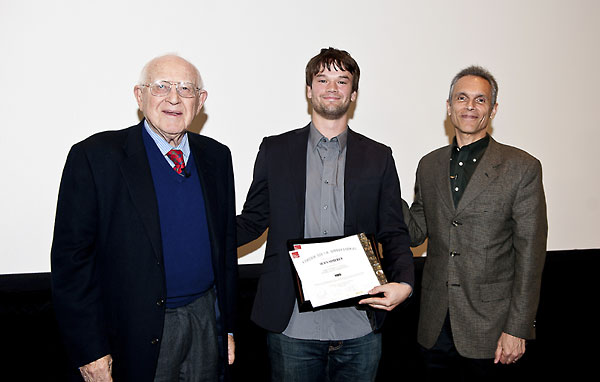 Branko Lustig and Michael Renov Present Sean Simerly with the Award for Best Narrative.