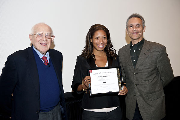 Branko Lustig and Michael Renov recognize competition participant Anissa Douglass.