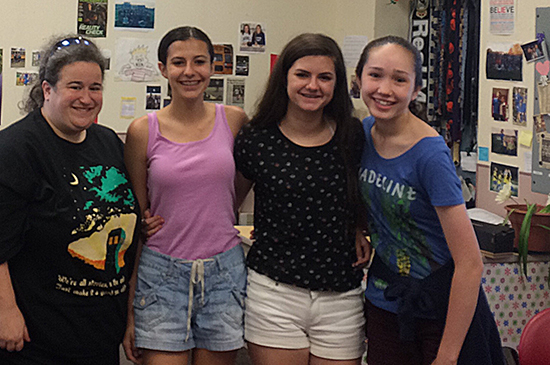L-R: Our teacher Emily Bengels and me, Allison Vandal, my friends and club membersCaroline Waters and Maya Montell