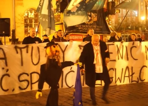 Photo from Algemeiner: An effigy of a Jew at an anti-immigration protest in Poland.
