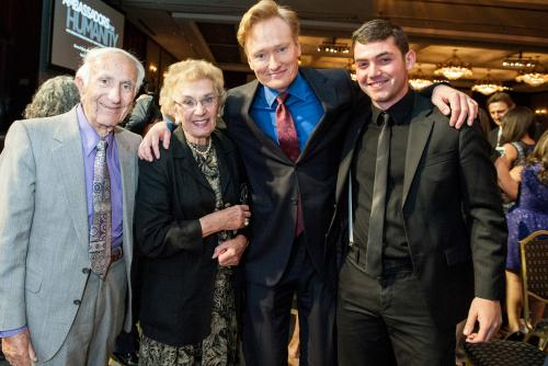 My grandfather, grandmother and I with Conan O'Brien at the 2014 Ambassadors for Humanity Gala