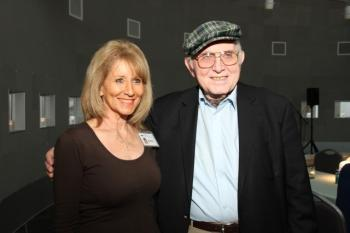Pinchas Gutter and museum docent Doris Lazarus. Photo courtesy of Illinois Holocaust Museum and Education Center.