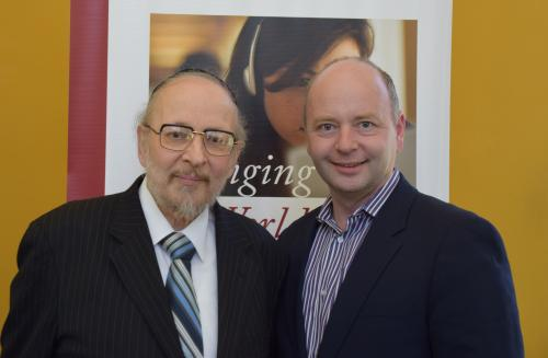 Harry Reicher and Stephen Smith at Reicher's public lecture in July 2014.