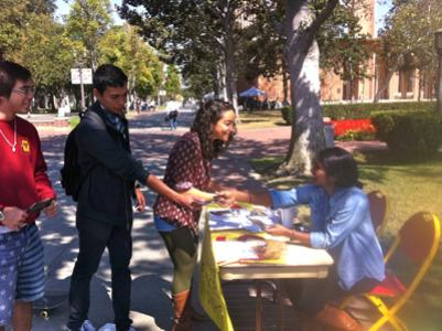 SFISA hosts an information table on Trousdale Parkway at USC.
