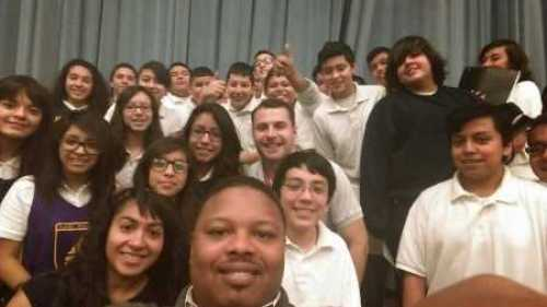 A group picture with my students and myself (center).