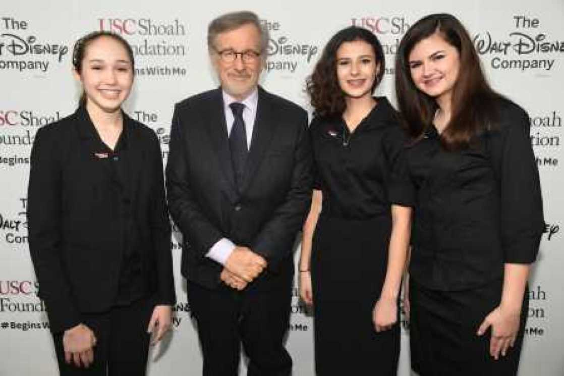 2016 IWitness Video Challenge winners with USC Shoah Foundation founder Steven Spielberg.