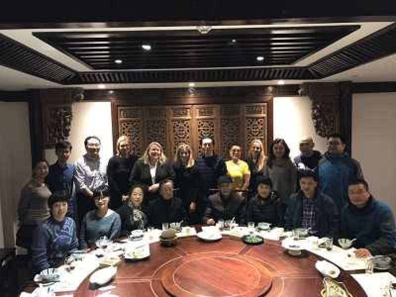 Restaurant in Nanjing with two survivors and their families.  Madame Shuqin Xia seated fourth from left. Next to her is Chang Zhiqiang. In back are (second from left) Cheng Fang Professor Yanming Lu, Ulrika Citron, Kori Street, Kim Simon, Chen Gong, Cecil