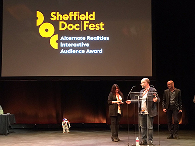 Smith and Maio accept the audience award. Courtesy Sheffield Doc Fest