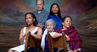 Survivors from five genocides met in April of 2016. They include Edith Umugiranez from Rwanda; Dario Gabbai, Holocaust; Yevigne Salibian, Armenia; Aracely Garrido, Guatemala; and Sara Pol-Lim, Cambodia.