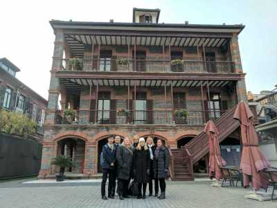 Shanghai Jewish Refugee Museum. From left, Cheng Fang, Professor Yanming Lu, Kori Street, Ulrika Citron, Kim Simon, Karen Jungblut and Amy Liao, senior consultant of museum.