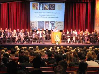 Students, parents, teachers, and Holocaust survivors attended the awards ceremony at Chapman University.