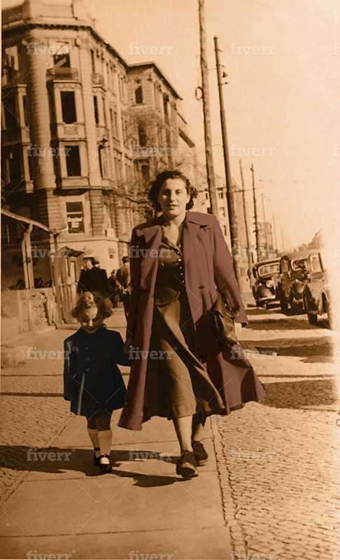 My grandmother, Mania Lichtenstein, walking in Berlin with my mother, Jeanie Bernstein, who was born in a DP camp, two years post liberation.