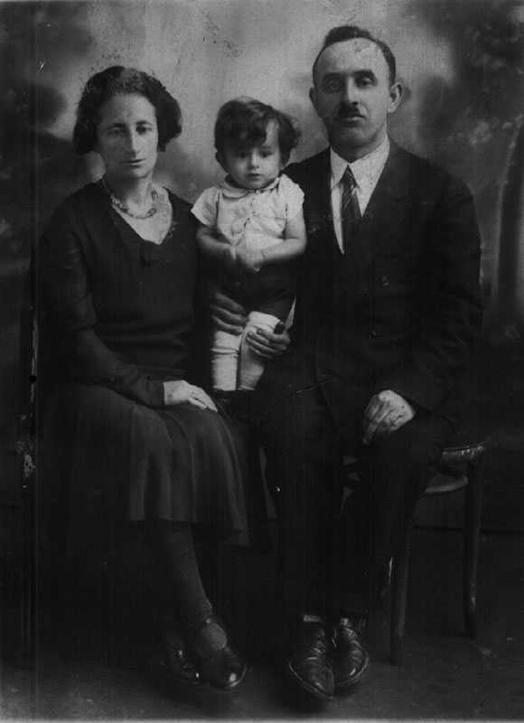 """Leybisch & Rachel Burg & son, Zloczow, 1935, my husband's granduncle's family, last correspondence returned during WWII marked in German """"Addressee Unknown""""--never heard from again!"""