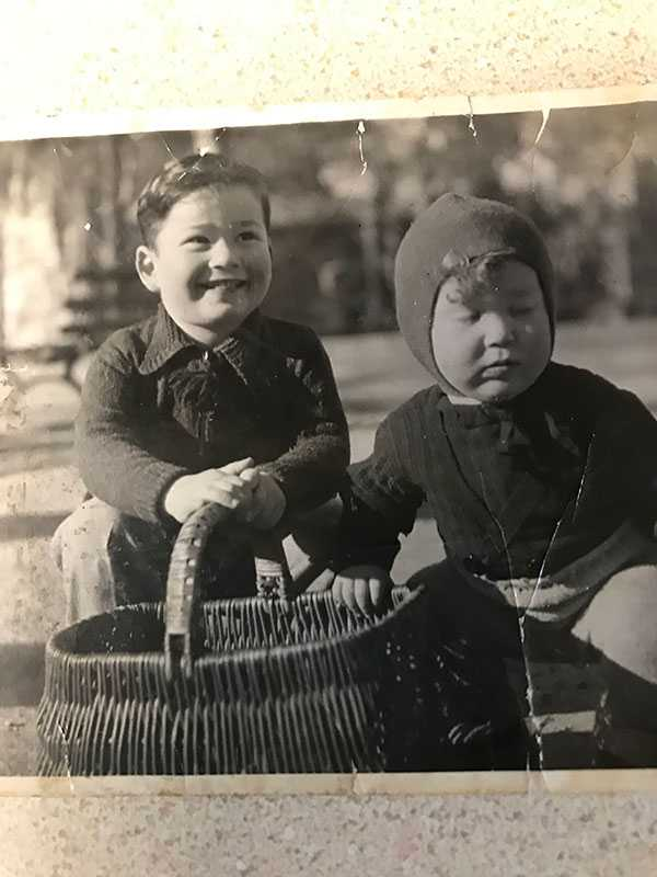 Here is a 1944 photo of my late-husband taken in southern France (L) Eli Cohn, born in Montpelier, France in 1941 with his brother Harry Cohn, born in Nice, France in 1943.