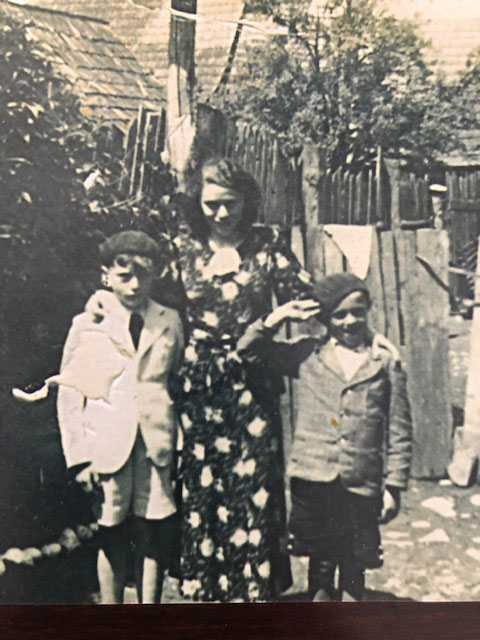This photo below was taken in Stará Ľubovňa, Czechoslovakia in late 1930 (maybe 1937 – 1939). The woman was my grandmother, Dora Rosenbaum, who was murdered in either Sobibor or Belzec. The shorter boy was my dad, David Rosenbaum, who was a prisoner in Madjenek for four weeks and then Auschwitz for 2 1/2 years until liberation. The older boy was my dad's older brother whose name was Tuli Rosenbaum, and he was deported to Auschwitz in April 1942 with only men over the age of 16. He was murdered in Auschwitz after being a prisoner for a few months.