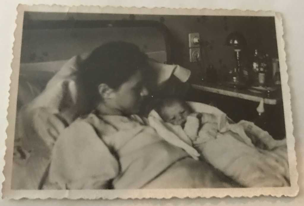 This is my mother, Julia Hirsch Fodor, and her daughter, Zsuzsanna, at her birth in January 1944 in Budapest, Hungary. Zsuzsa died on April 10, 1944 because she became ill and no hospital would treat a Jewish baby. My mother's testimony is in the Shoah Foundation Archives.