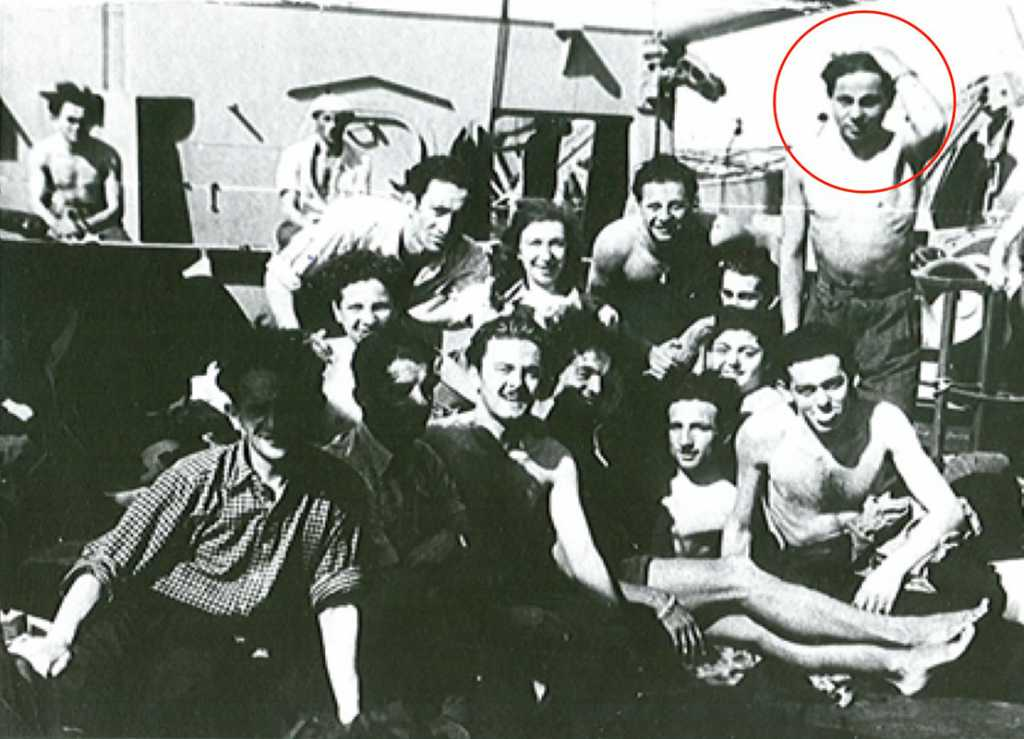 Morris Friebaum (Moniek Frajbaum) – circled in red – at 19 years-old, aboard the SS Marine Marlin, Sept. 1946, along with other young Holocaust survivors emigrating from Germany to the U.S., to begin his post-Holocaust life in heartbreaking circumstances identical to those he experienced throughout WWII: completely on his own, without family, friends, an education, money, possessions, keepsakes, heirlooms, or a single photograph.