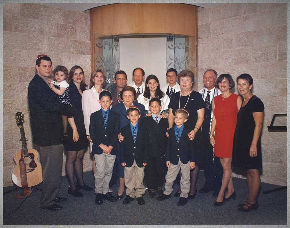Hannah Dajes (Zaidman), and her daughter, Rosa Shoichet, from Romania survived the Transnistria camp, and immigrated to Peru, with Udel Dajes (Hannah's younger sister, not in the picture). Hannah center right, Rosa center left. Family celebration of Hanna's great granddaughter's Bat Mitzvah in Fort Lauderdale, Florida, March 1999.