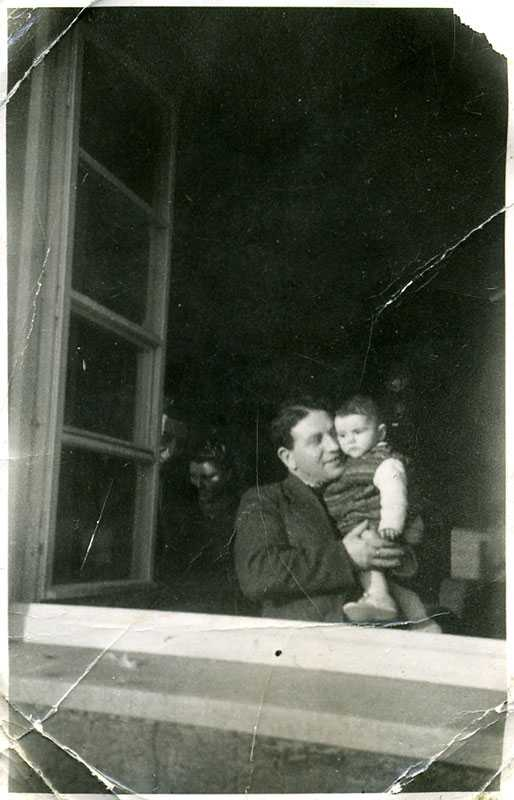 This photo was taken some time in 1946, showing my dad (Leon Klott) and me in Heidenheim, Germany, survivors of the Holocaust (I was born just prior to the end of the war in Europe). My dad and mom escaped from a forced labor camp in September 1944, and mom was pregnant with me at the time.