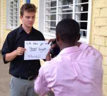 USC Student and Shoah Foundation intern Jonathan Stoller-Schoff in Rwanda.